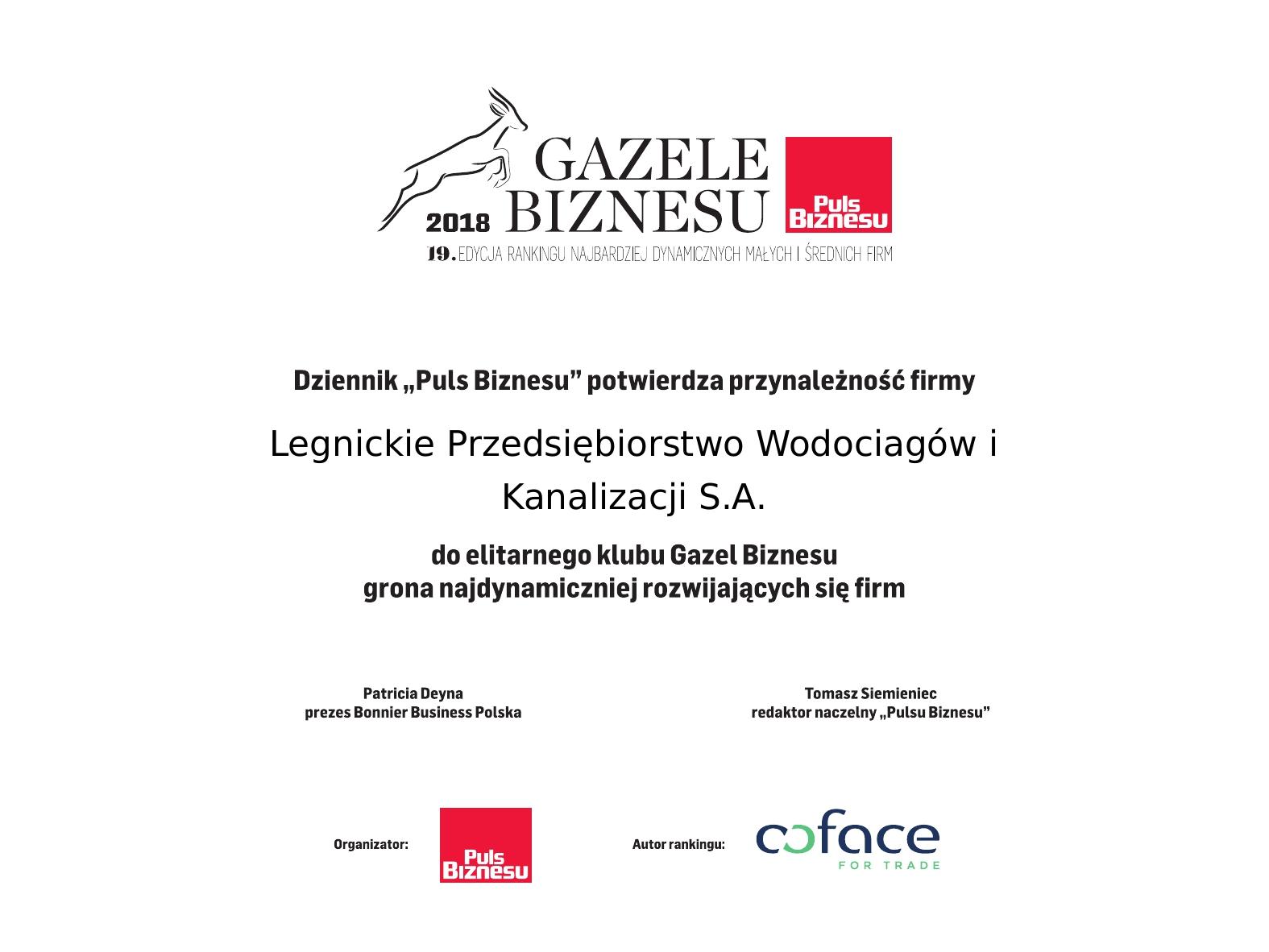 Dyplom Gazeli Biznesu 2018