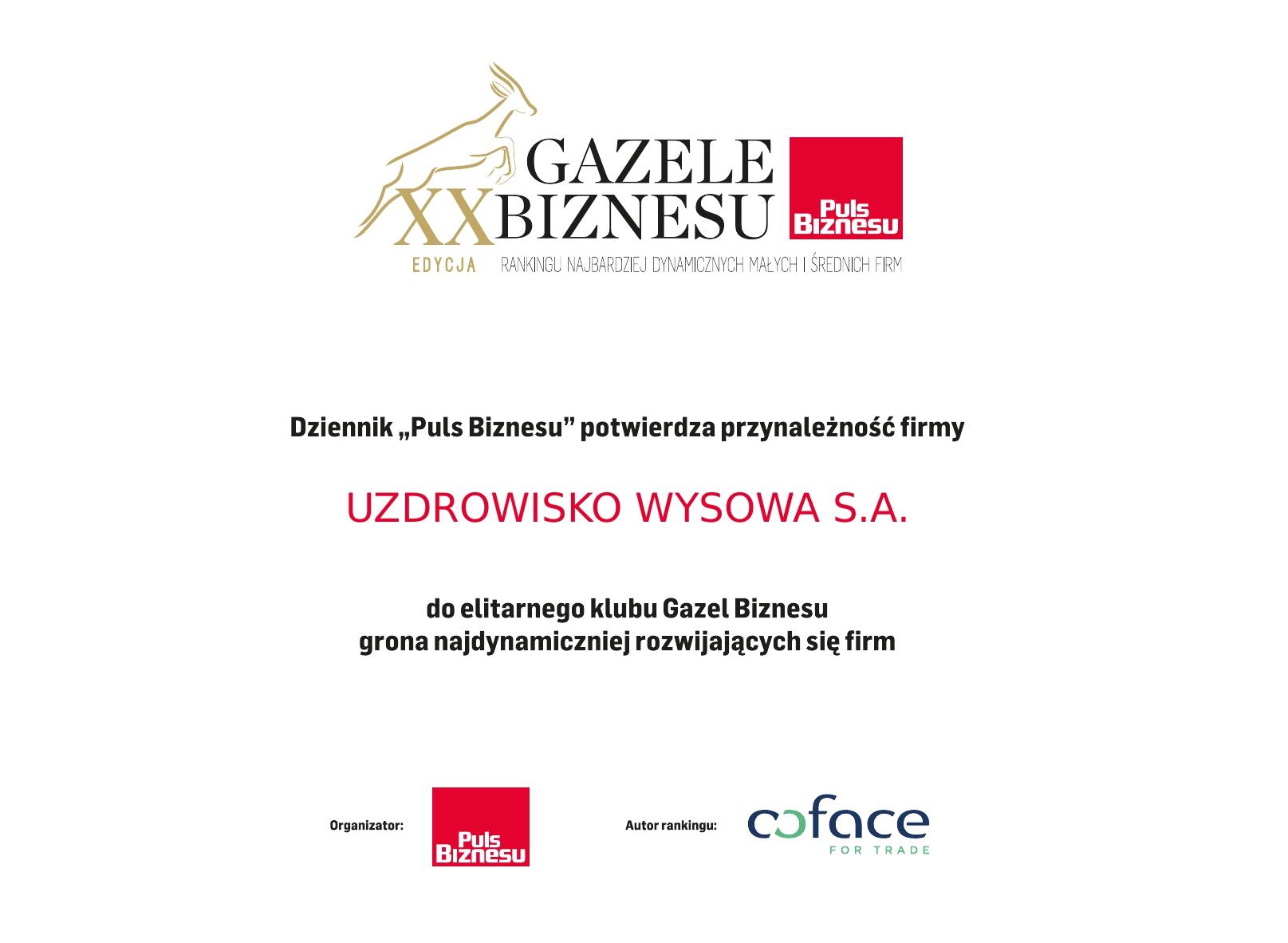 Dyplom Gazeli Biznesu 2019