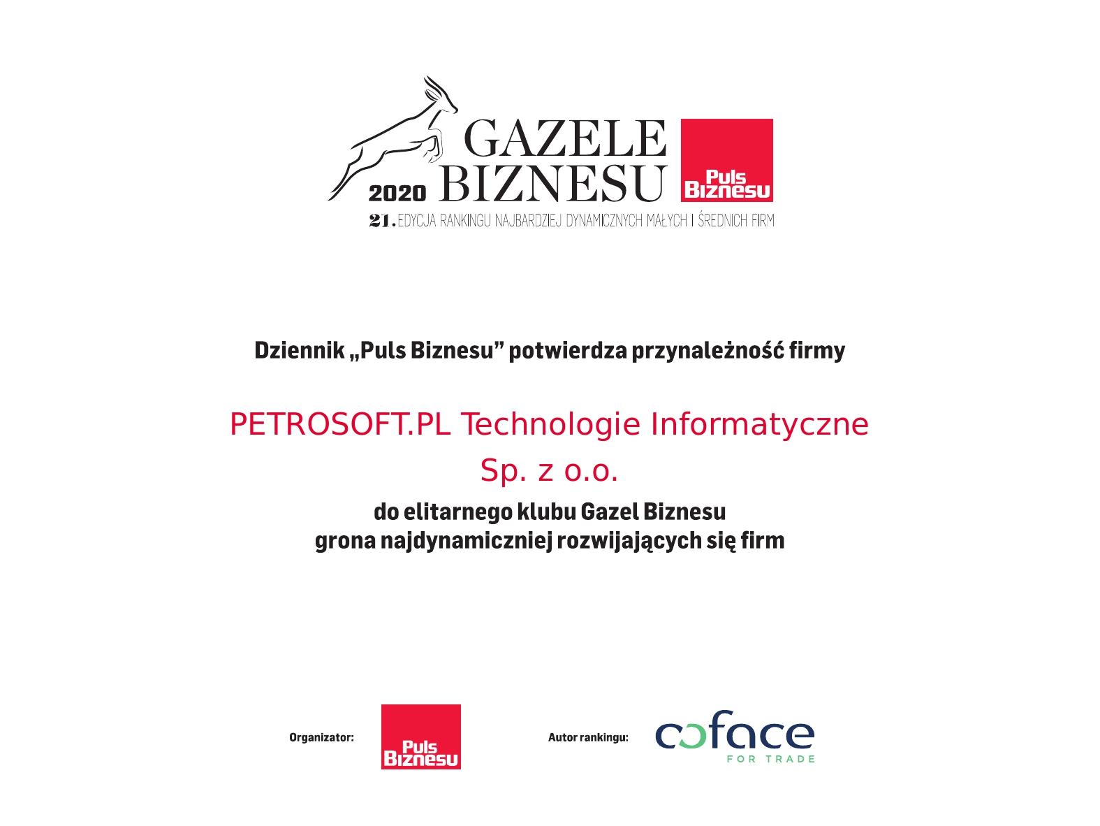 Dyplom Gazeli Biznesu 2020